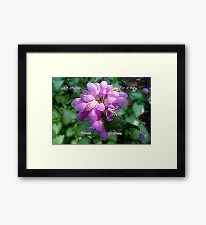 Happy Birthday ..Card, purple flower Framed Print