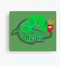 Funny Relax Caterpillar Shirt - Hungry Relax Shirt - Chill Out Shirt - Chill Shirt - Chill t shirt - Spliff Shirt Canvas Print