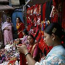 Selling decorative braids in Kathmandu, Nepal by Yves Roumazeilles
