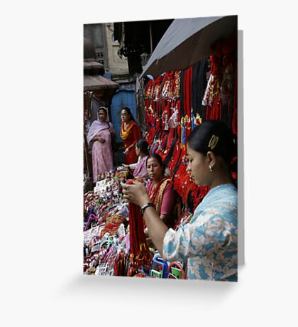 Selling decorative braids in Kathmandu, Nepal Greeting Card