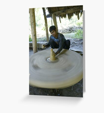 Nepalese potter in Bardia Greeting Card