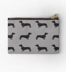 Black Sausage Dogs Pink Collar Studio Pouch