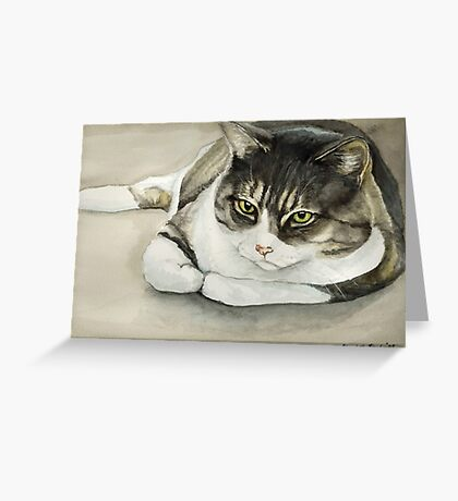 Tubby Tabby Cat Watercolor Painting Greeting Card