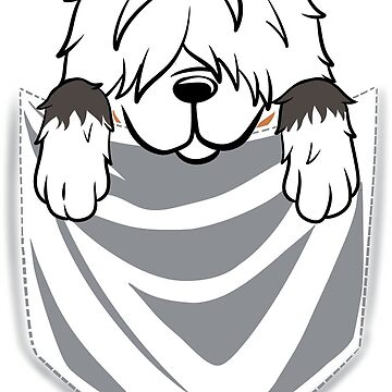 Old English Sheepdog Cartoon Pocket Graphic by ilovepaws