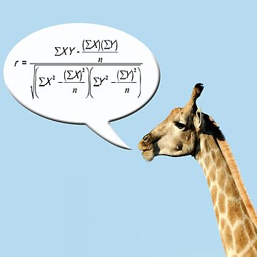 Clever giraffe explains Pearson's correlation coefficient. by funkyworm