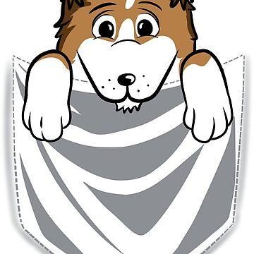 Shetland Sheepdog Cartoon Pocket Graphic by ilovepaws