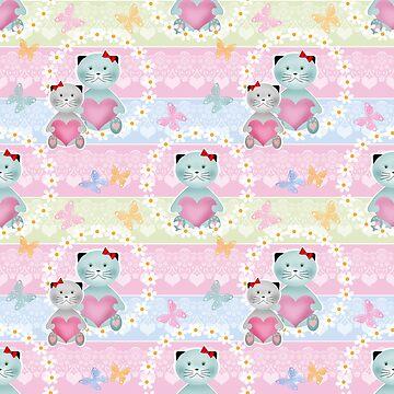 Cats seamless kids pattern background  by fuzzyfox