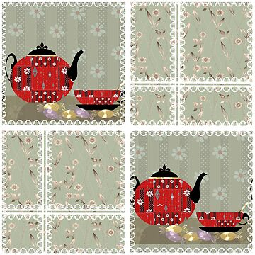 Patchwork seamless pattern with cup and pot background by fuzzyfox