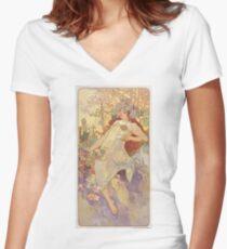 Alphonse Mucha Art, Famous European, Art Posters Women's Fitted V-Neck T-Shirt