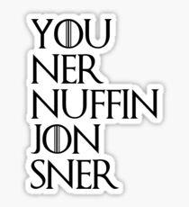 jon sner ners nuffin Sticker