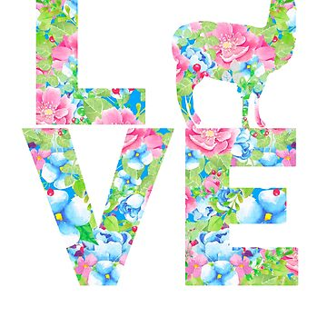 I Love Llamas Floral Pattern by LarkDesigns