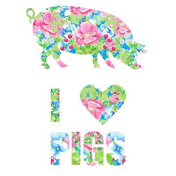 I Love Pigs Floral Silhouette Pig Lovers by LarkDesigns