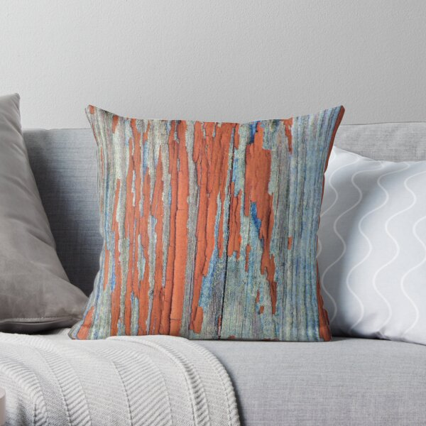 Rustic weathered wood in red Throw Pillow