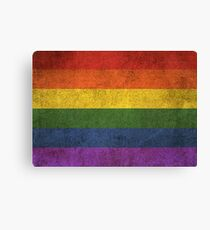 Old and Worn Distressed Vintage Gay Pride Rainbow Flag Canvas Print