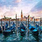 Gondolas in Venice watercolor by Marian  Voicu