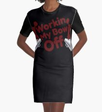 Workin My Bow Off Funny Cheerleading Cheer Graphic T-Shirt Dress