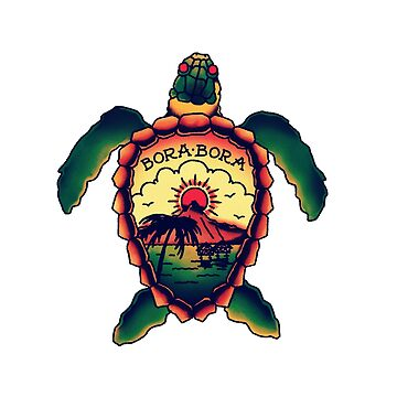 Bora Bora old school turtle tattoo by JamesShannon