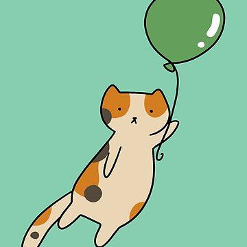Green Balloon Calico Cat by SaradaBoru