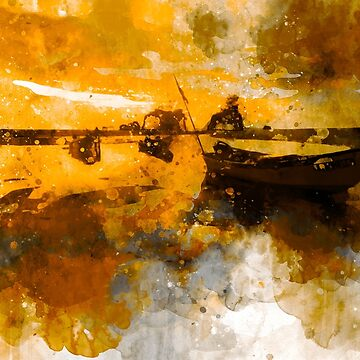 Boat in a golden water by NoraMohammed