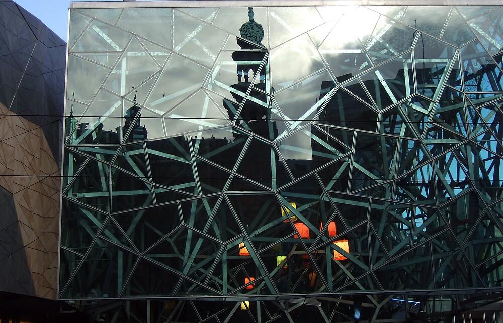 Forum Theatre refection on Federation Square. by Bernard (Ben)  Bosmans
