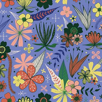 fun floral pattern on a blue background by swoldham