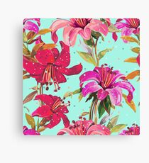 Red, Pink and Purple Floral Print Canvas Print