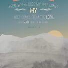 """Modernes Aquarell, das grau, blauer Entwurf, Schriftbibelvers Psalm 121 Vers 1 """"meine Hilfe hilft vom Lord malt, der Himmel und Erde machte"""". Leistungsstark. von TheFinerThemes"""