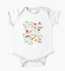 strong feathers pattern Short Sleeve Baby One-Piece