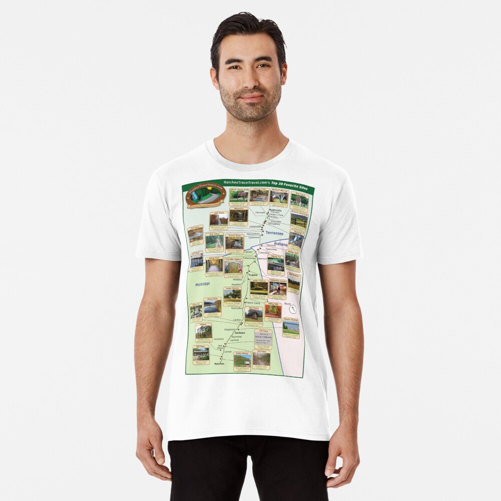 NatchezTraceTravel.com's Top 30 Favorite Sites Map Premium T-Shirt