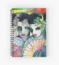 Geisha Girls Holding a Fan Spiral Notebook