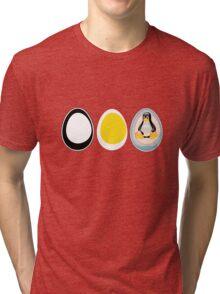 LINUX TUX  PENGUIN  3 EGGS Tri-blend T-Shirt