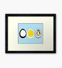 LINUX TUX  PENGUIN  3 EGGS Framed Print