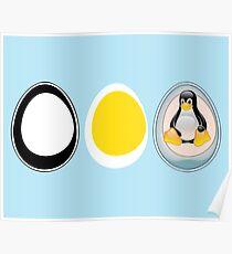 LINUX TUX  PENGUIN  3 EGGS Poster
