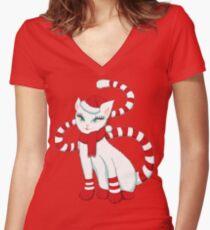 White cat in Christmas mood Women's Fitted V-Neck T-Shirt