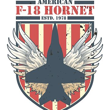 F-18 Hornet American Fighter jet | Distressed Flag T-Shirt by JohnPhillips