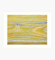 Shabby weathered wood in yellow Art Print