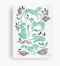 Cheetah Collection – Mint & Black Palette Canvas Print
