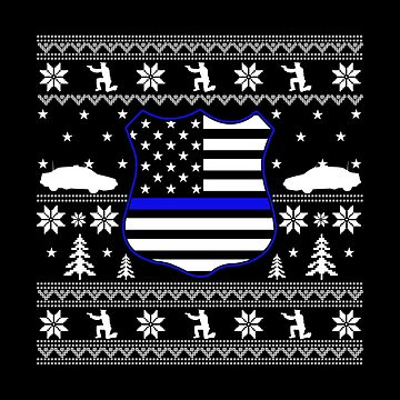 Thin Blue Line Ugly Christmas Sweater Badge Flag by Katnovations