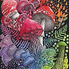 Rainbow Mushroom Composition | Watercolor Illustration by Stephanie KILGAST