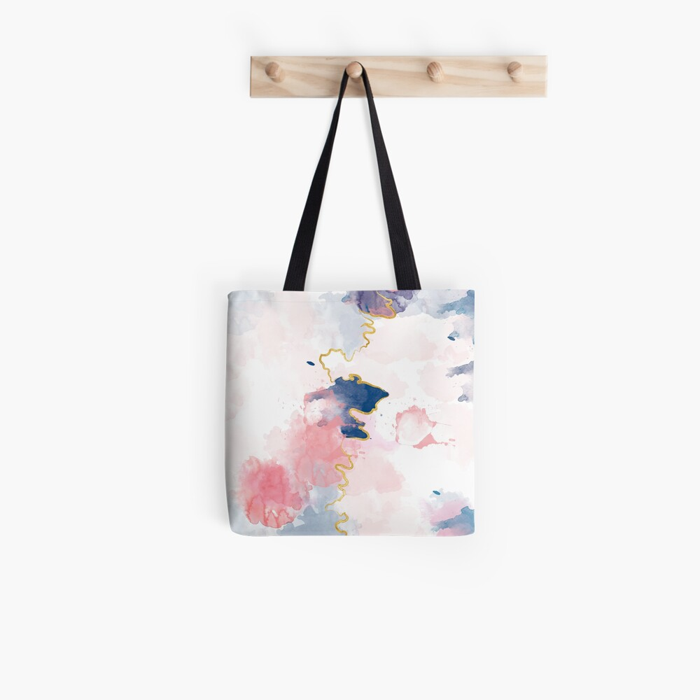 Kintsugi Pastel Marble Abstract #kintsugi #gold #japan #marble #pink #blue #home #decor #kirovair #watercolor #pastel Stofftasche