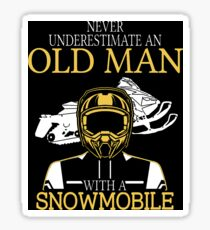 Never Underestimate An Old Man With A Snowmobile T-Shirt Sticker