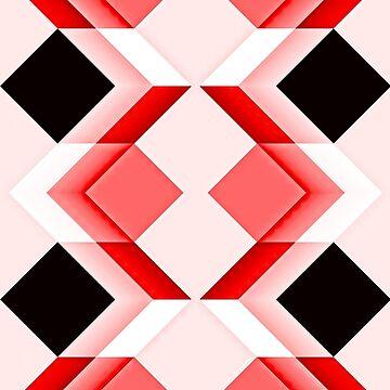 Op art, diamonds, cuboids and cubes, reds by aapshop