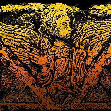 WINGED ANGEL DRAWING STONE SCULPTURE RELIGIOUS by theoatman