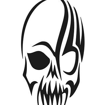 Tribal Skull Head Cranium T-Shirt by AbdelaaliKamoun