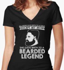 Bearded Legend T-Shirt Women's Fitted V-Neck T-Shirt
