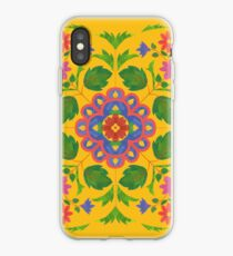 Floral Rangoli Pattern on Yellow iPhone Case