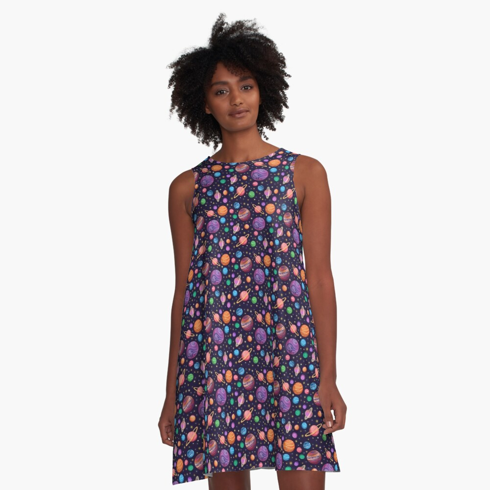 Playful Planets A-Line Dress Front