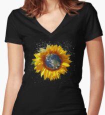 Sonnenblume Erde Blume Planet Geschenk Tailliertes T-Shirt mit V-Ausschnitt