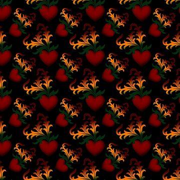 Flourish Hearts On Black by xzendor7