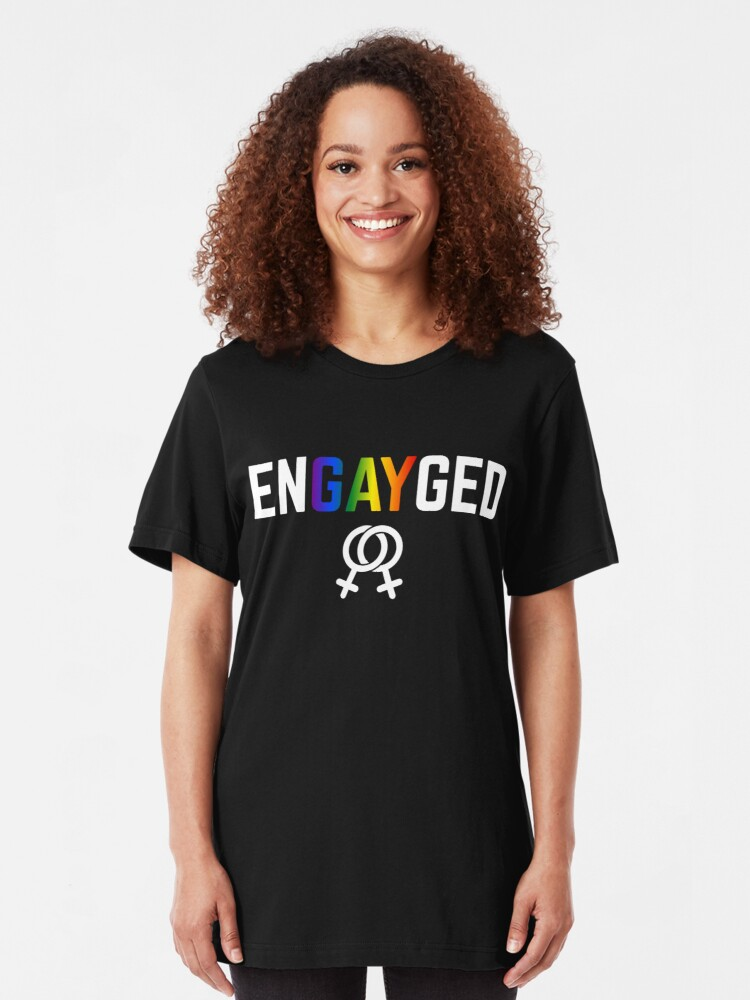 Alternative Ansicht von Engayged Gay Engagement Lesbian - LGBT Pride Month Gift Slim Fit T-Shirt
